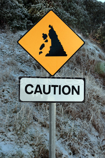 landslide sign in snow Stock photo © morrbyte