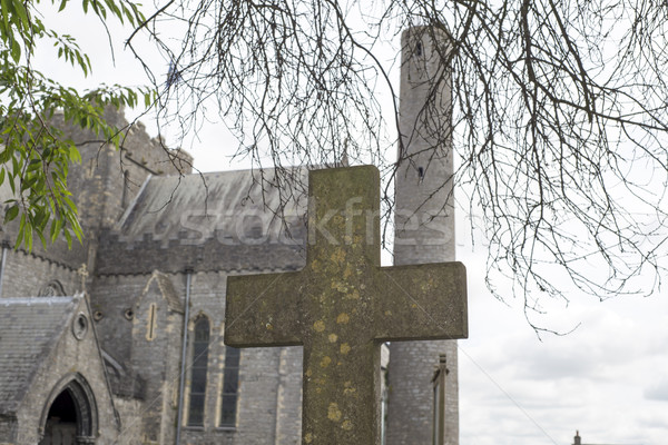 cross at ancient graveyard in St Canice's Stock photo © morrbyte
