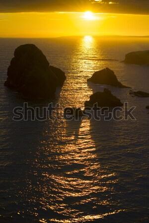 日没 方法 海岸線 海 美 ストックフォト © morrbyte