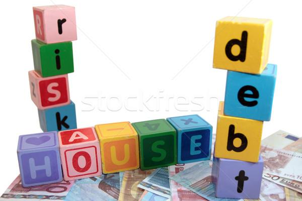 Casa debito rischio giocattolo giocare lettere Foto d'archivio © morrbyte