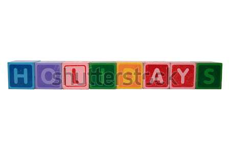 spelling in toy block letters Stock photo © morrbyte