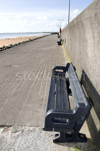 Stockfoto: Strand · promenade · rustig · zee · oceaan · Blauw