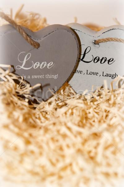 Pár fából készült szeretet szívek kettő szürke Stock fotó © morrbyte