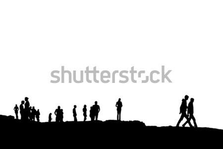 Silhouette persone folla bordo Foto d'archivio © morrbyte