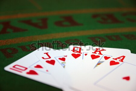 Dés blackjack Pack vert casino table Photo stock © morrbyte
