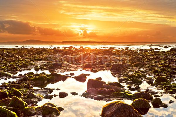 orange reflections at rocky beal beach Stock photo © morrbyte
