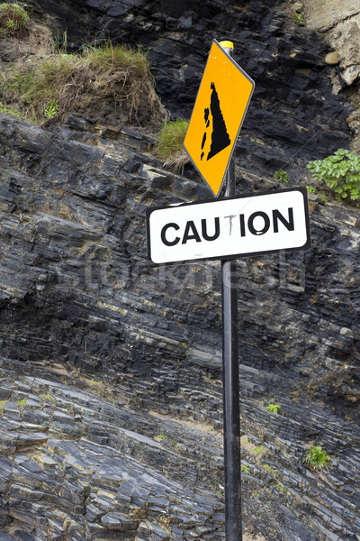 caution rock fall sign on Ballybunion beach Stock photo © morrbyte