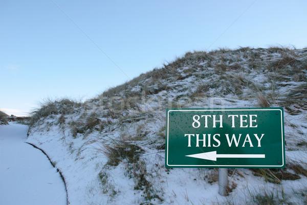 Erre felirat golfpálya hó fedett linkek Stock fotó © morrbyte