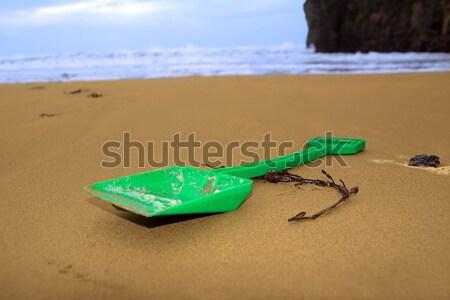 Műanyag zöld ásó arany tengerpart elhagyatott Stock fotó © morrbyte