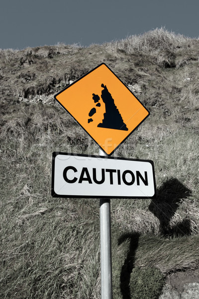 landslide caution and warning road sign Stock photo © morrbyte