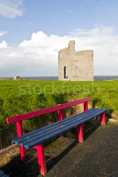 benches to view Ballybunion beach and castle Stock photo © morrbyte