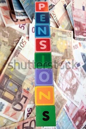 Bérlés pénz építőkockák játék levelek varázsige Stock fotó © morrbyte