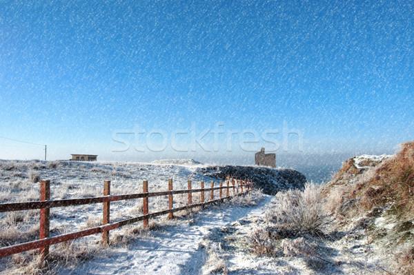 fenced walk to ballybunion castle in blizzard Stock photo © morrbyte