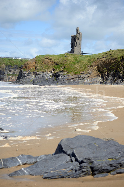 wild atlantic way castle and beach Stock photo © morrbyte