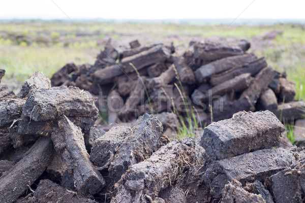 peat stacked up for the bog winds to dry Stock photo © morrbyte