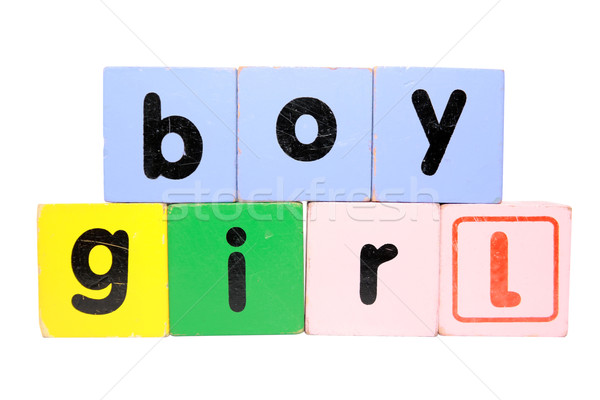 boy girl in play block letters with clipping path Stock photo © morrbyte
