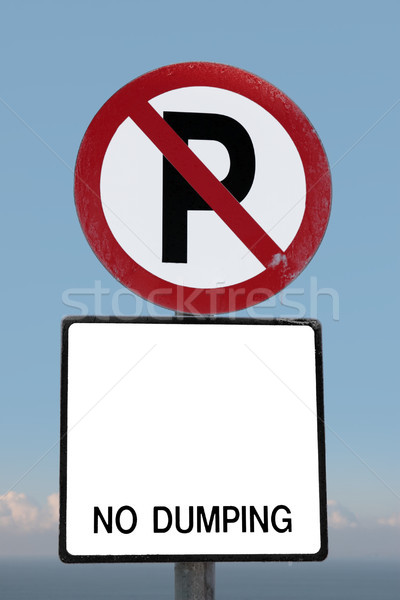 no parking sign on a cliff edge with clipping path Stock photo © morrbyte