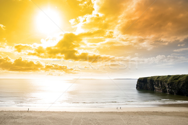 tourists walking the Ballybunion beach and cliff Stock photo © morrbyte