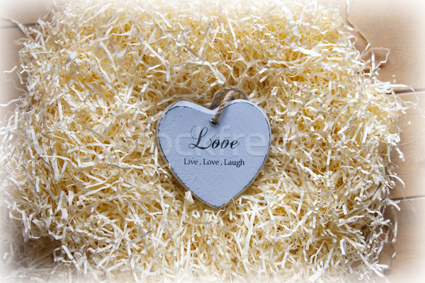 lonesome blue wooden heart in a love nest Stock photo © morrbyte