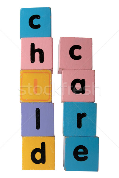 childcare in  block letters with clipping path on white Stock photo © morrbyte