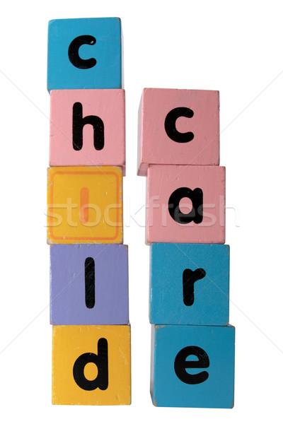 Garde d'enfants lettres blanche jouet lettre Photo stock © morrbyte