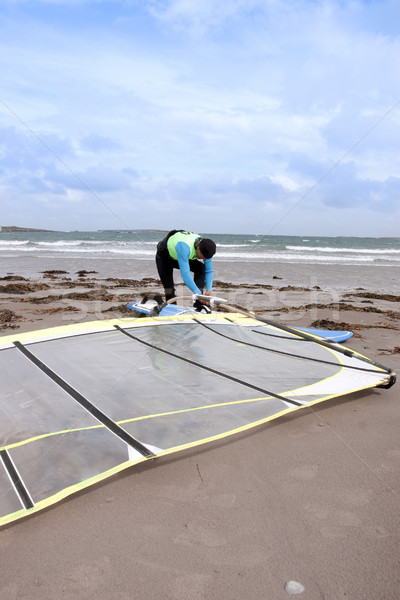 wild Atlantic windsurfer getting ready Stock photo © morrbyte