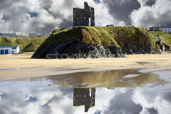 wild atlantic way castle ruins and beach Stock photo © morrbyte