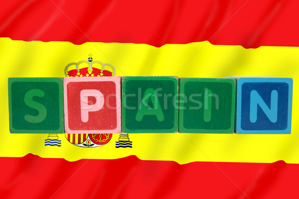 spain and flag in toy block letters Stock photo © morrbyte