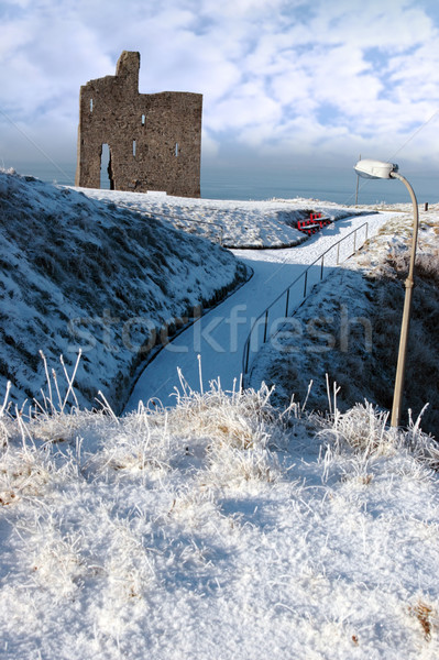 christmasy view of ballybunion castle Stock photo © morrbyte