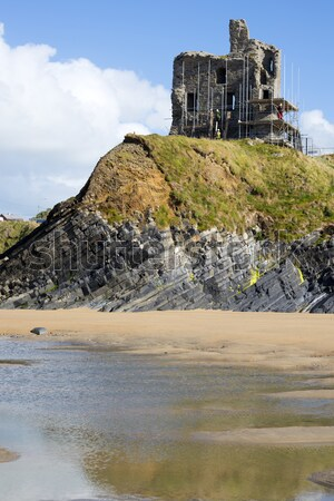 ballybunion castle with scafolding Stock photo © morrbyte