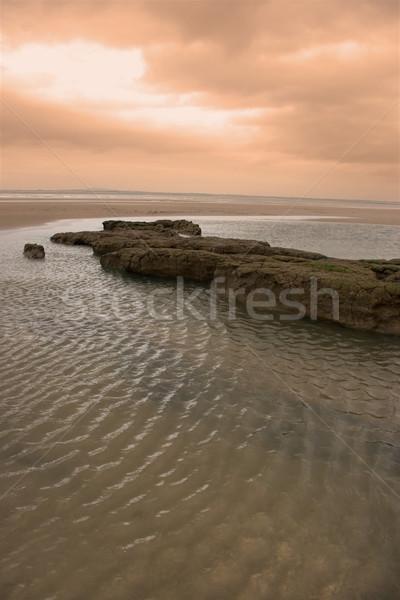 Rood hemel modder banken west kust Stockfoto © morrbyte