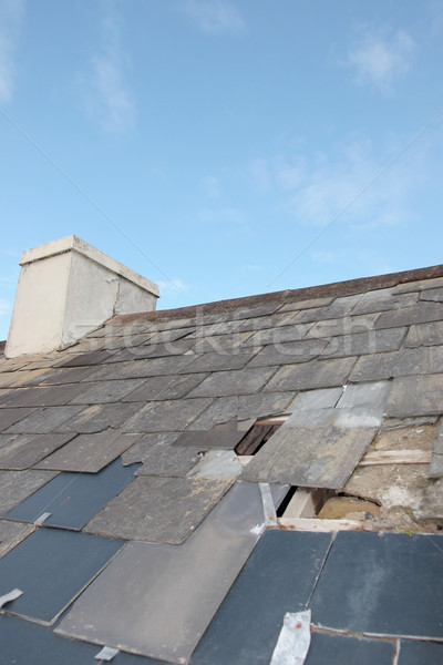 damaged home roof Stock photo © morrbyte