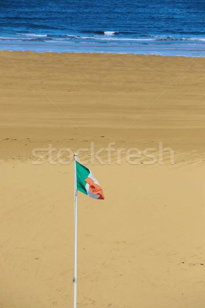 ír zászló integet szellő kilátás tengerpart Stock fotó © morrbyte
