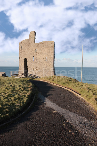 path to ballybunions old castle ruins Stock photo © morrbyte