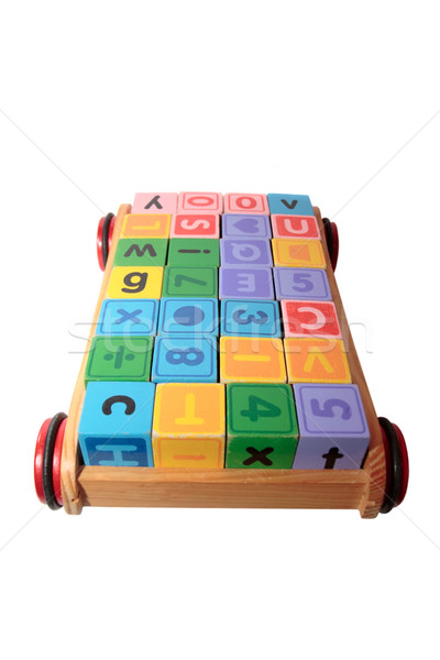 childrens play letter blocks in toy cart Stock photo © morrbyte