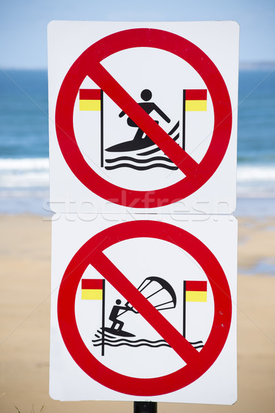 warning signs for surfers in ballybunion on the wild atlantic way in ireland Stock photo © morrbyte