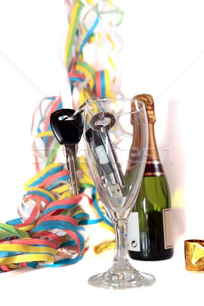 Slusszkulcs bent pezsgő furulya üveg kulcsok Stock fotó © morrbyte