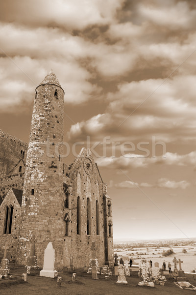 rock of cashel in sepia Stock photo © morrbyte