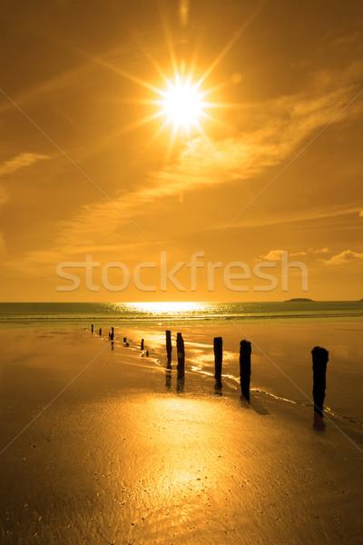 Gouden zonsondergang strand zonneschijn kurk Ierland Stockfoto © morrbyte