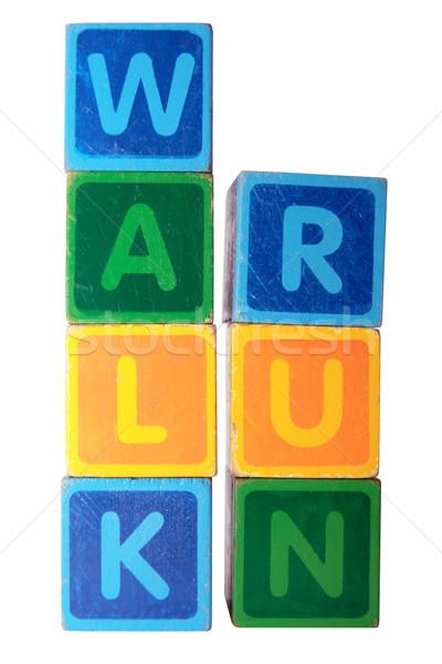Piedi eseguire giocattolo lettere bianco Foto d'archivio © morrbyte