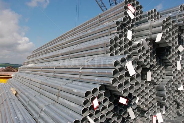 Ipari acél csövek dokk üzlet építkezés Stock fotó © morrbyte