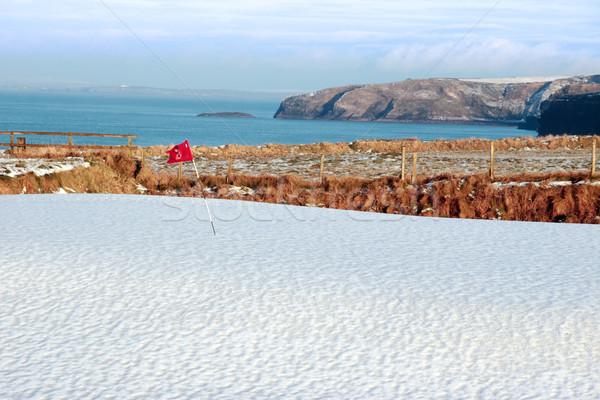 ストックフォト: 白 · 雪 · カバー · ゴルフコース · アイルランド · 冬