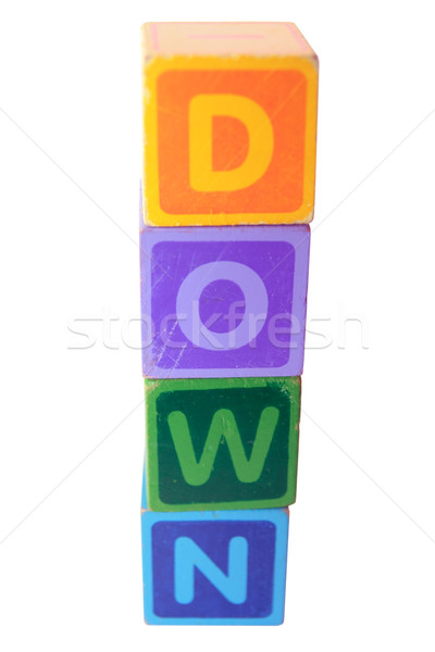 down in wood play block letters with clipping path Stock photo © morrbyte