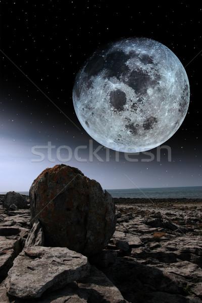 Luna piena panorama Irlanda luminoso luna cielo notturno Foto d'archivio © morrbyte
