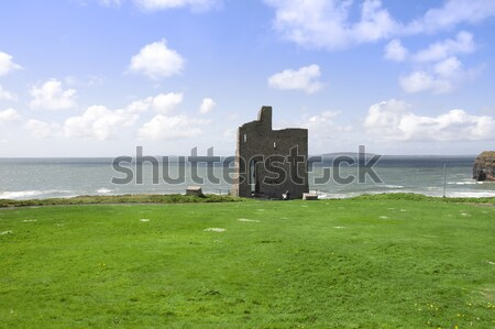 beautiful view of Ballybunion castle and green Stock photo © morrbyte