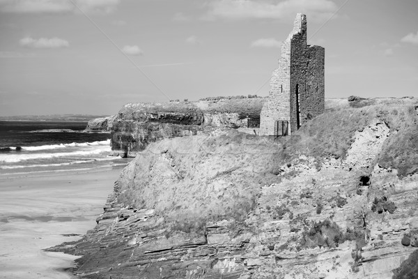 black and white ballybunion castle ruins Stock photo © morrbyte