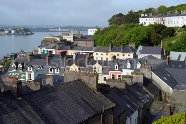Kilátás város dugó Írország égbolt ház Stock fotó © morrbyte