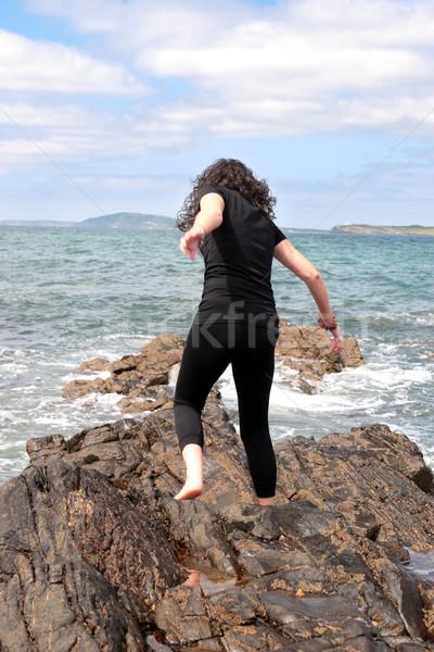 öröm élet gyönyörű nő jóga előadás egészséges Stock fotó © morrbyte