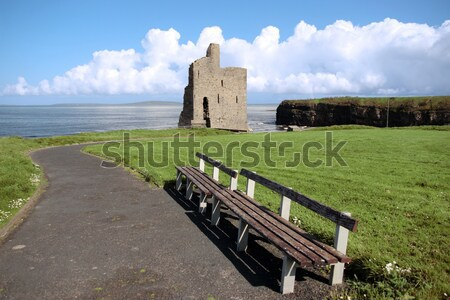 benches view of Ballybunion castle beach and cliffs Stock photo © morrbyte