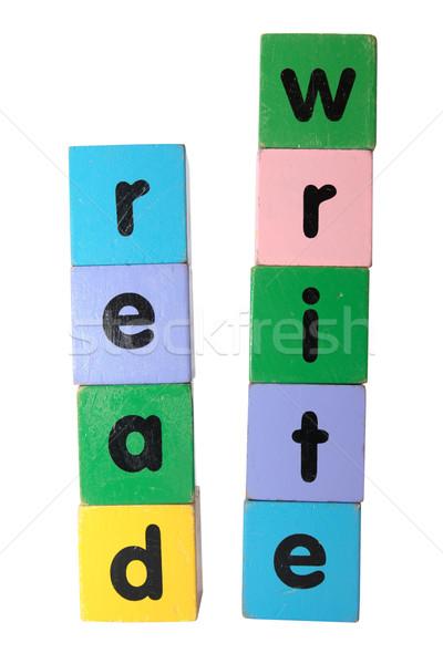 Olvas ír szöveg építőkockák játék levelek Stock fotó © morrbyte